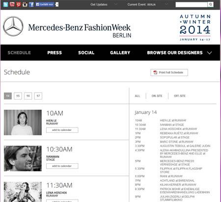 MBFW 14 Schedule